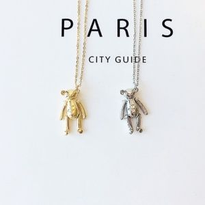 Cute Dainty Gold Teddy Bear Adjustable Necklace